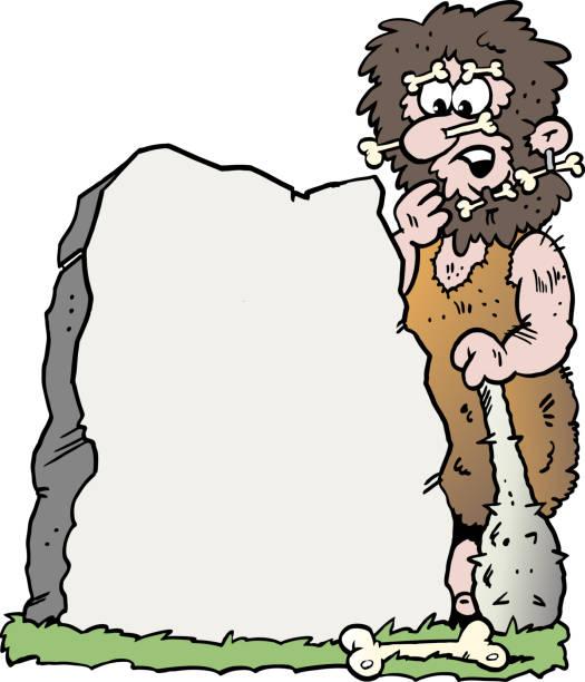 Dibujos animados de ilustración vectorial de un hombre de las cavernas mirando una piedra grande - ilustración de arte vectorial