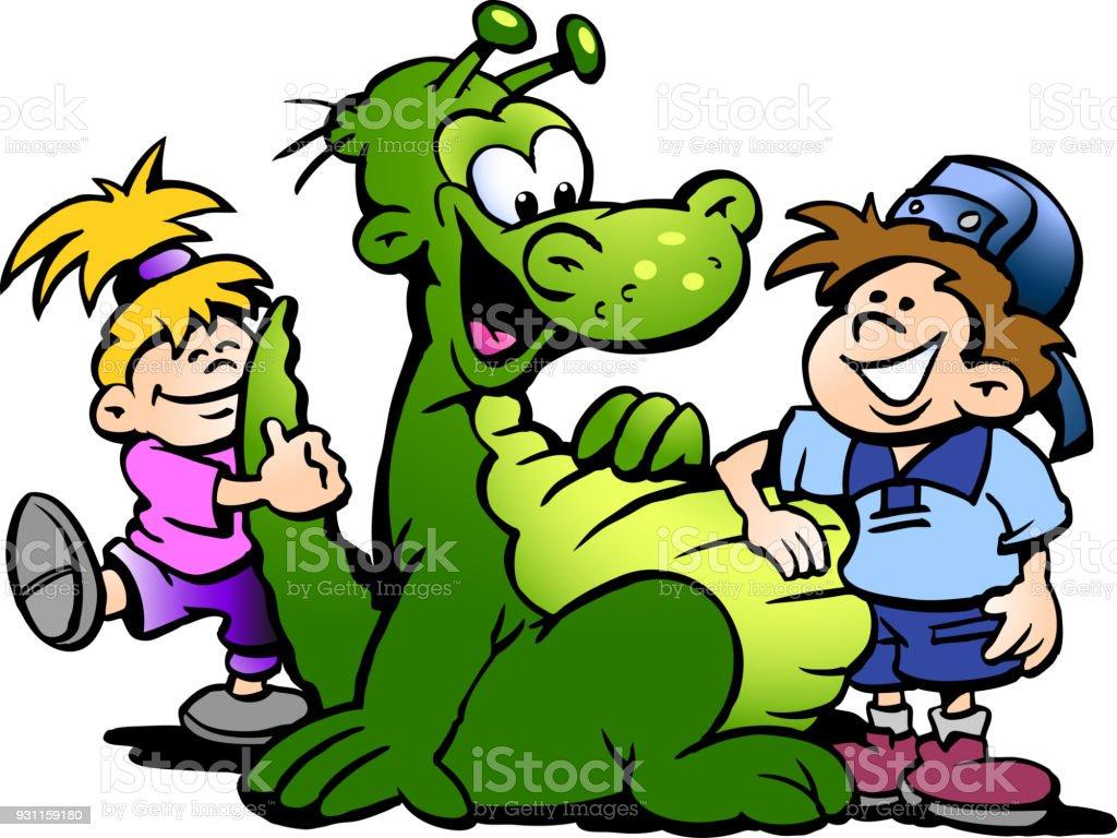 漫画の子供との楽しみを持つ恐竜のベクトル イラスト アイコンの