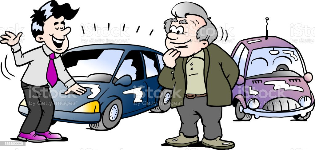 Cartoon Vector Illustration Of A Old Man Who Is Interested In Brand New Auto Car