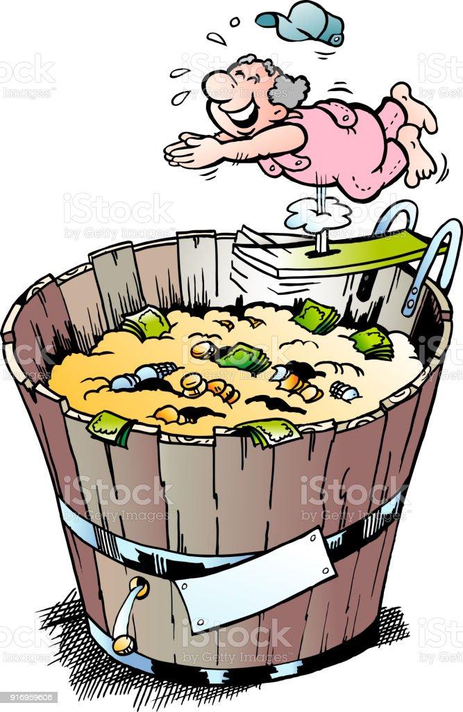 Cartoon Vector illustration of a rich pensioner who took a bath in his money bin vector art illustration