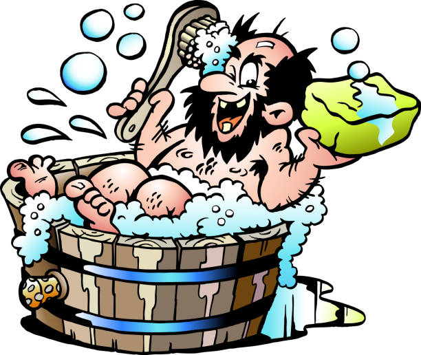 cartoon vector illustration of an old dirty man who wash him selv in a wooden bathtub - old man nude cartoon stock illustrations, clip art, cartoons, & icons