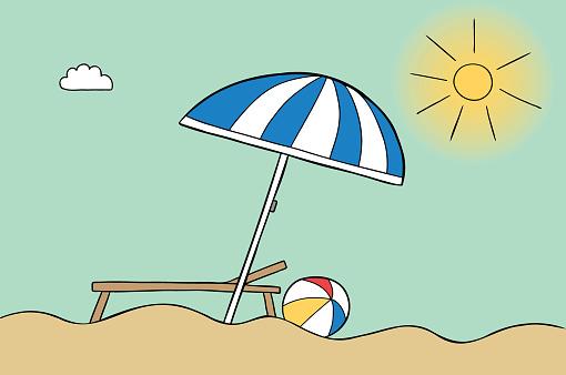Cartoon vector illustration of beach umbrella, beach, sunny weather, sunbed and sea ball.