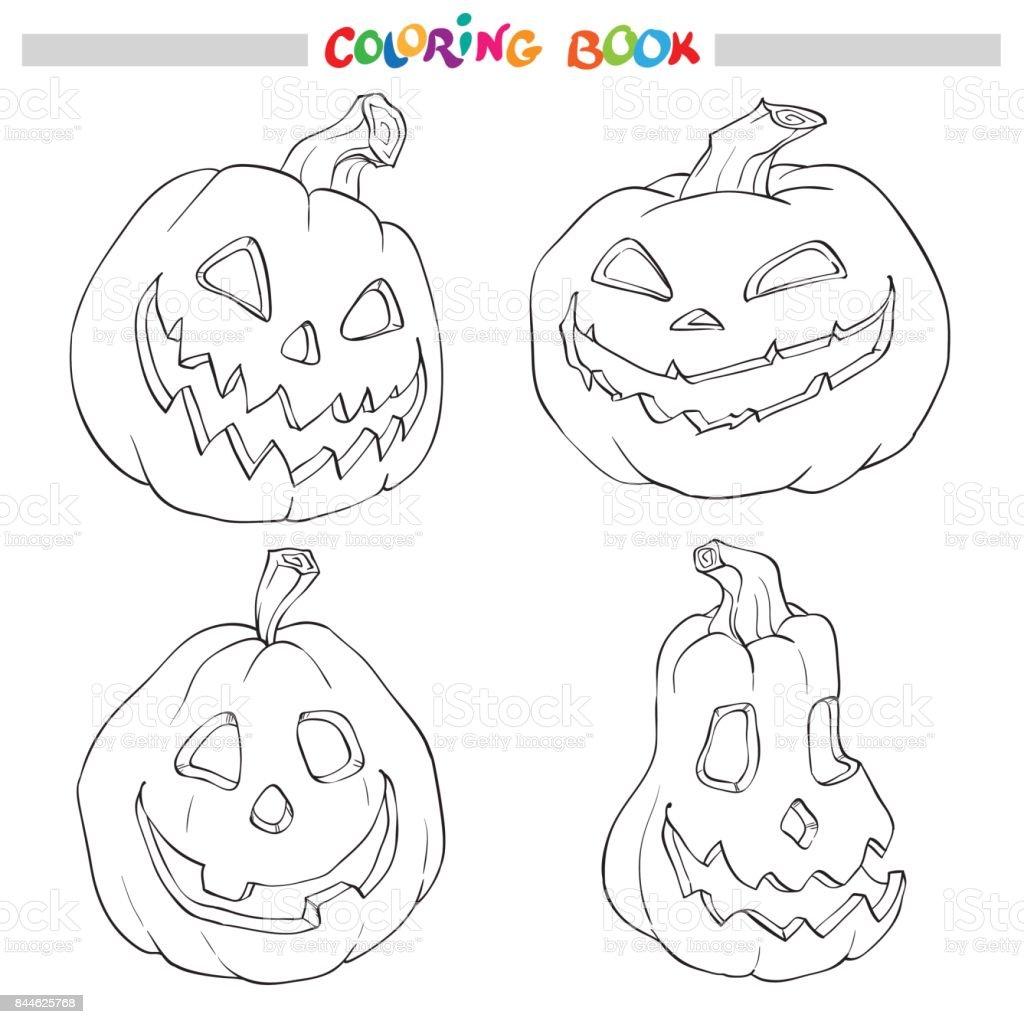 Ilustración De Dibujos Animados Vector De Negro Y Blanco Halloween ...