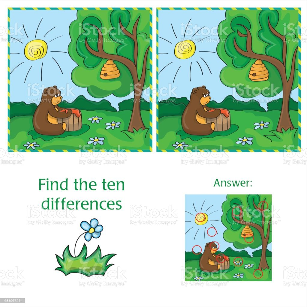 cartoon vector illustration of finding differences 10歳から11歳の
