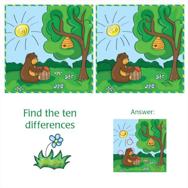 Cartoon Vector Illustration of Finding Differences vector art illustration