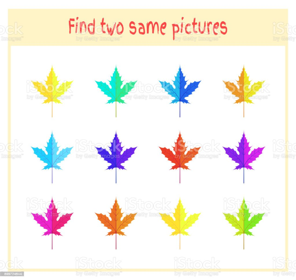 Cartoon Vector Illustration of Finding Two Exactly the Same Pictures Educational Activity for Preschool Children with leaves of the tree vector art illustration