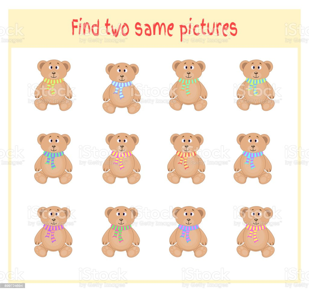 Cartoon Vector Illustration of Finding Two Exactly the Same Pictures Educational Activity for Preschool Children with bears vector art illustration