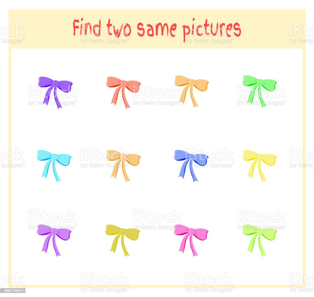 Cartoon Vector Illustration of Finding Two Exactly the Same Pictures Educational Activity for Preschool Children with bows vector art illustration