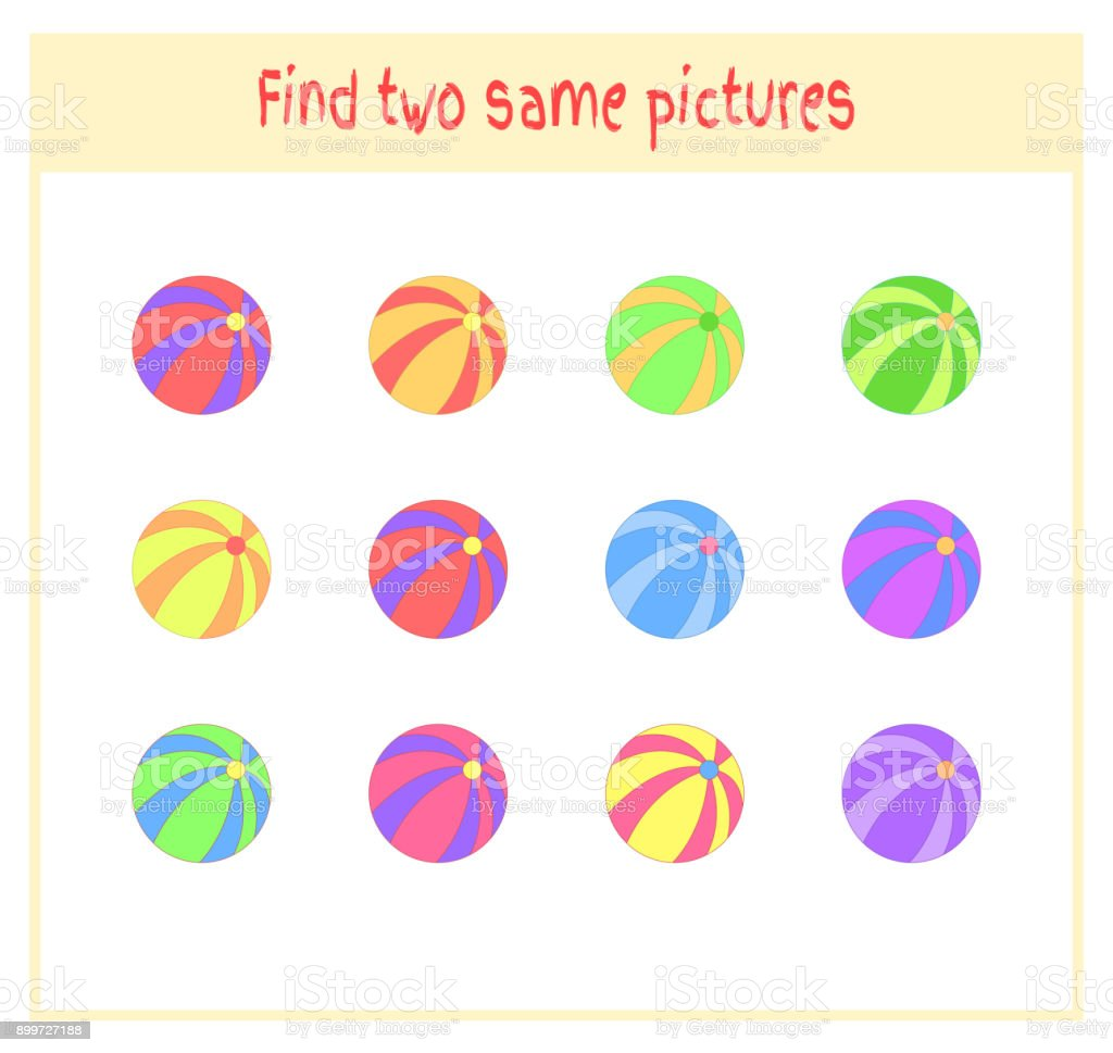 Cartoon Vector Illustration of Finding Two Exactly the Same Pictures Educational Activity for Preschool Children with balls vector art illustration