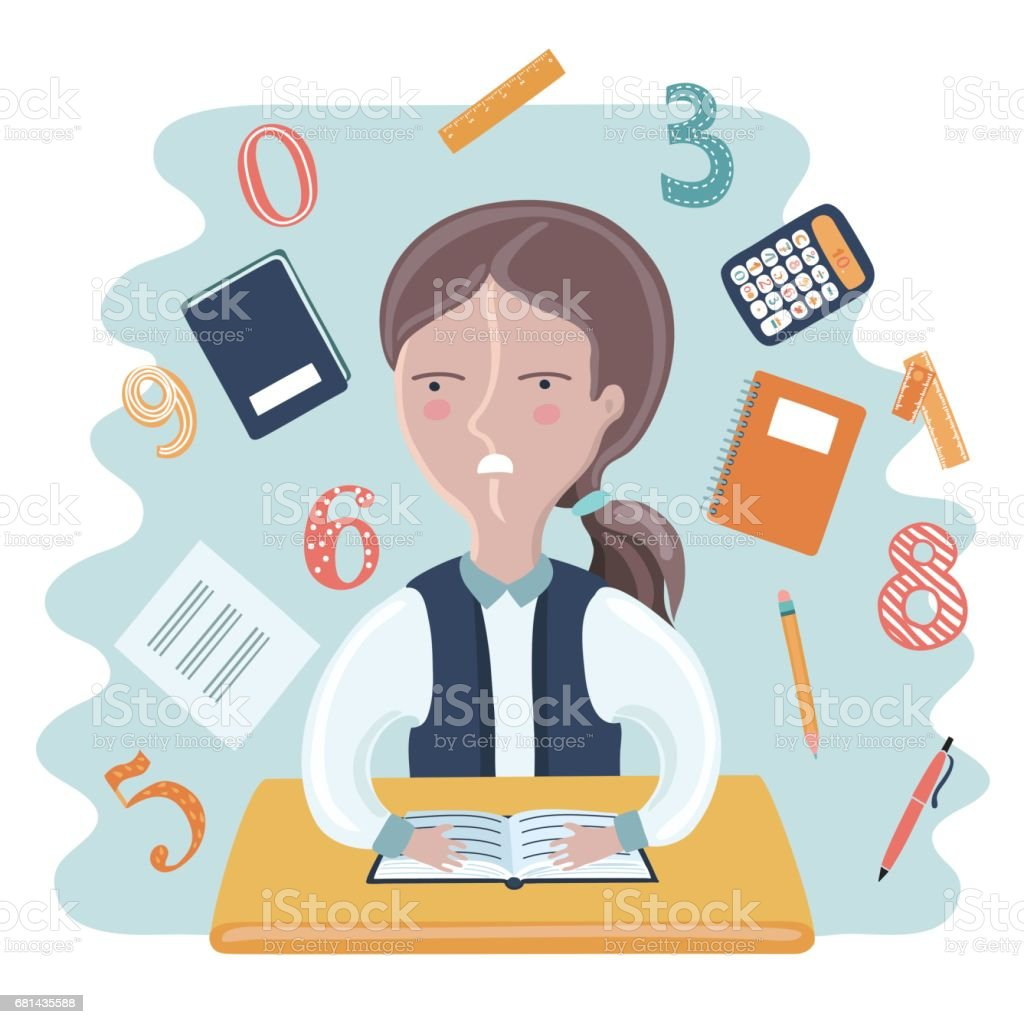 Cartoon vector illustration of funny girl sitting at the desk in Classroom royalty-free cartoon vector illustration of funny girl sitting at the desk in classroom stock vector art & more images of back