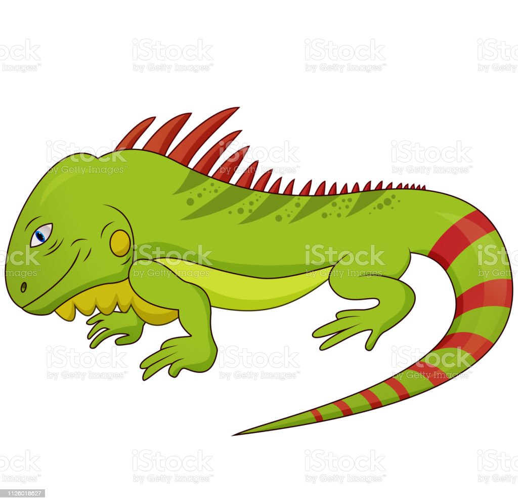 Cartoon Vector Illustration of Funny Iguana Lizard Reptile Animal...