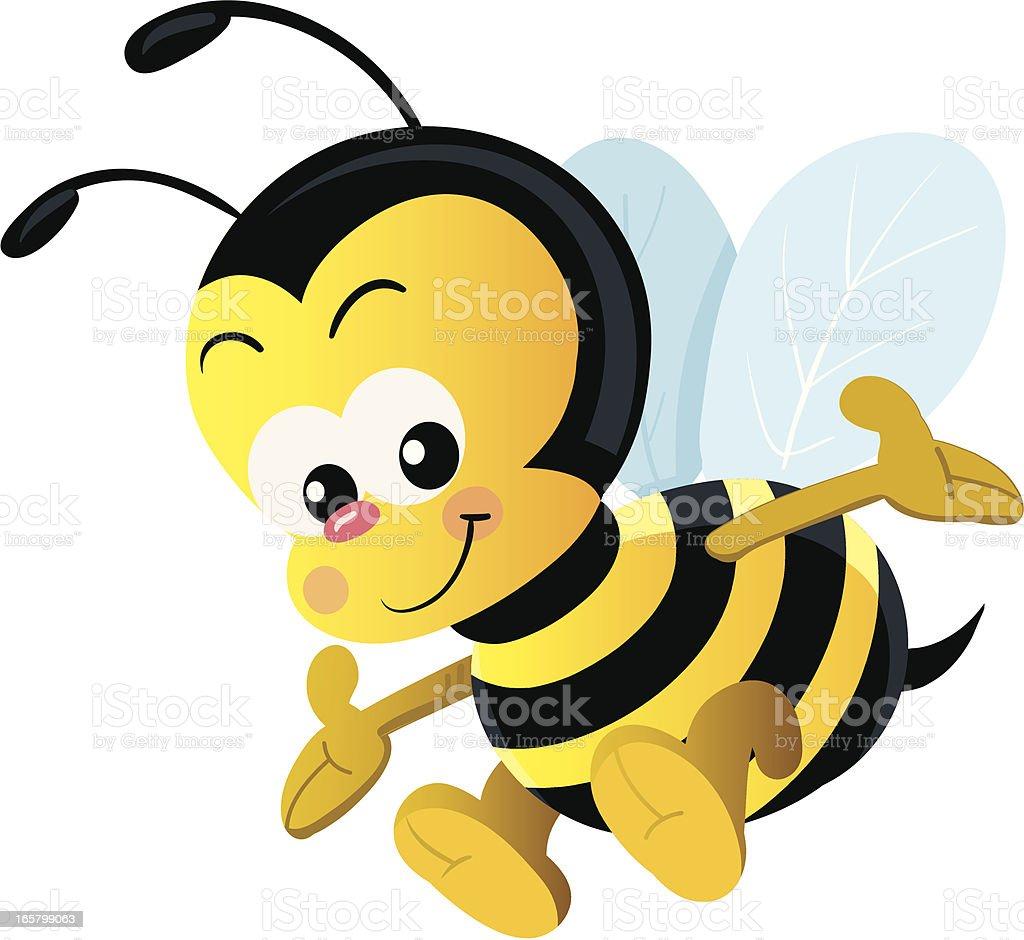 cartoon vector illustration of happy bee stock vector art