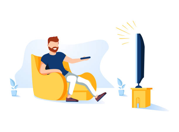 illustrazioni stock, clip art, cartoni animati e icone di tendenza di cartoon vector illustration of man sitting on the couch and watching tv. funny characters on isolated background. - divano procrastinazione