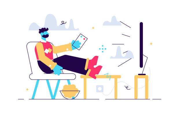 illustrazioni stock, clip art, cartoni animati e icone di tendenza di cartoon vector illustration of man sitting - divano procrastinazione