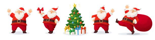 stockillustraties, clipart, cartoons en iconen met cartoon vector illustratie van de kerstman en ingericht kerstboom met presenteert geïsoleerd op wit - cadeau sinterklaas