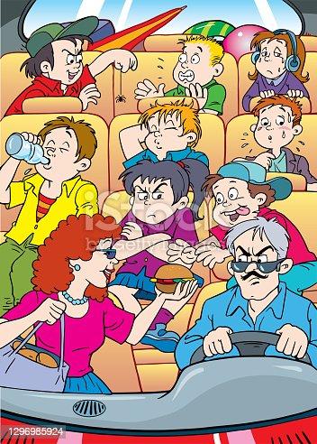 istock Cartoon vector illustration of  school bus driver and children. 1296985924
