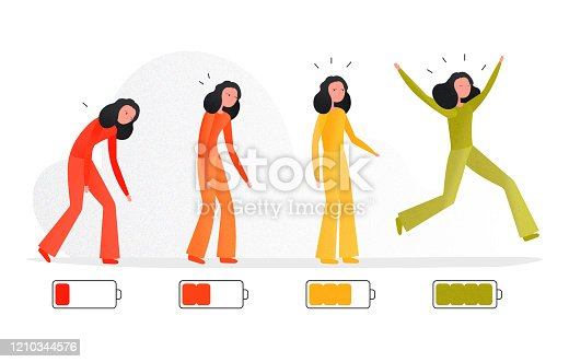 istock Cartoon vector illustration of woman feeling tired and energetic concept. Human character on white background 1210344576