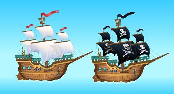 Cartoon Vector Illustration. Pirate Ship, sailing ship.