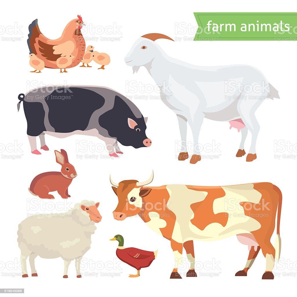 Historieta Conjunto de ilustración de vectores animales de granja aislado sobre blanco - ilustración de arte vectorial