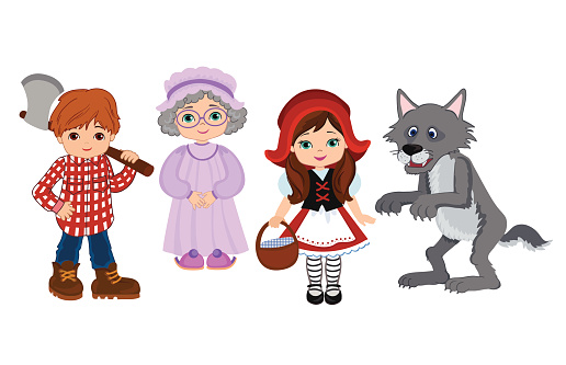 Cartoon Vector Illustrations  of Red Riding Hood Fairy Tale Characters