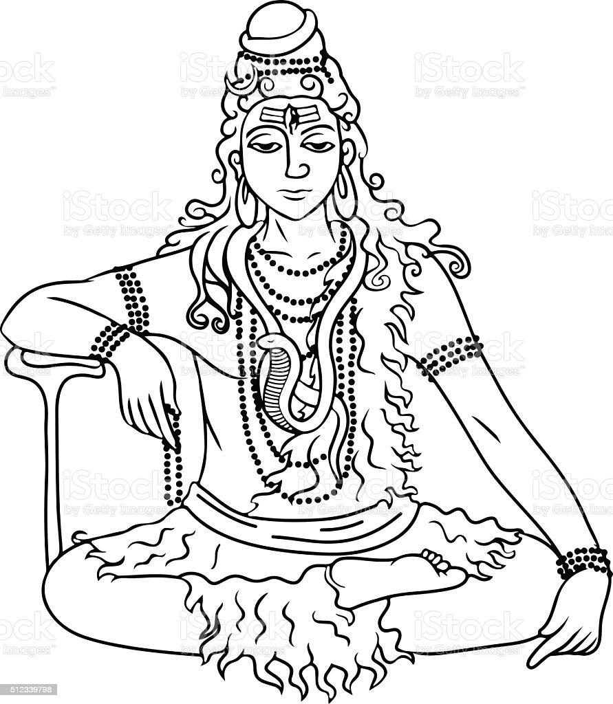 cartoon vector lord Shiva vector art illustration