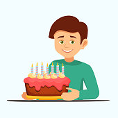 Cartoon vector male character with a birthday cake