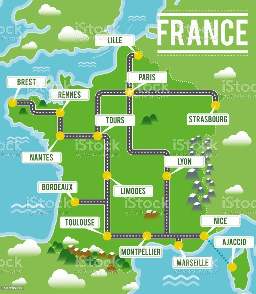 Tecknade Vektor Karta Over Frankrike Resor Illustration Med Franska Viktigaste Stader Vektorgrafik Och Fler Bilder Pa Auvergne Rhone Alpes Istock