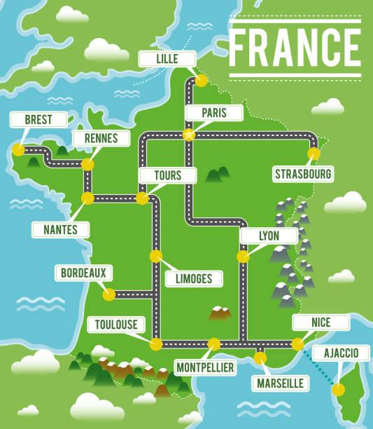 illustrations, cliparts, dessins animés et icônes de carte vectorielle de dessin animé de france. illustration de voyage avec français principales villes. - nantes