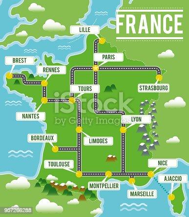 Ilustración de Mapa De Vectores De Dibujos Animados De Francia ...