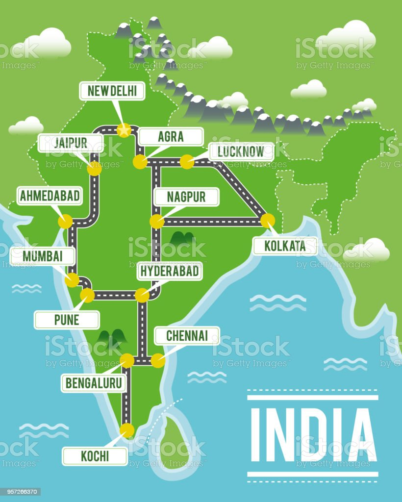 Cartoon Vector Map Of India Travel Illustration With Indian ... on south florida map showing cities, south central asia major cities, world map showing major cities, map cities major league sports, colorado cities, map of major asian cities, capital of texas major cities, map showing asia,