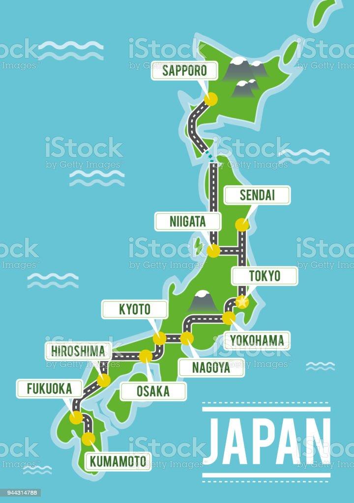 Cartoon Vector Map Of Japan Travel Illustration With Japanese Main