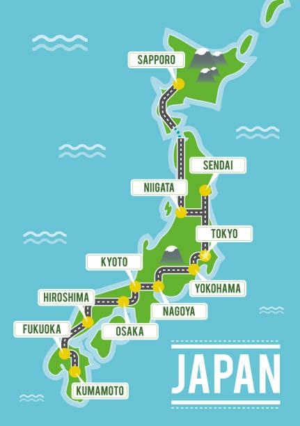 日本卡通向量地圖。旅行例證與日本主要城市。 - hiroshima 幅插畫檔、美工圖案、卡通及圖標