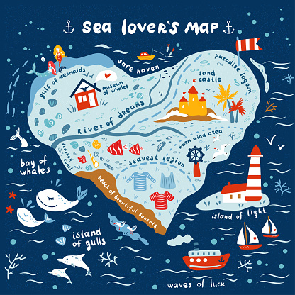 Cartoon vector map of one who is in love with sea, hand drawn decorative ocean background, doodle illustration marine life, sea heart design travel fantasy wallpaper for play kids, nautical sign