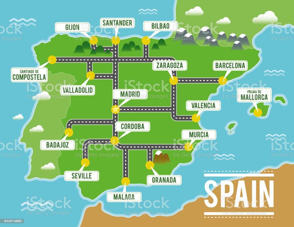 Karta Pa Spansk.Tecknade Vektor Karta Over Spanien Resa Illustration Med Spanska