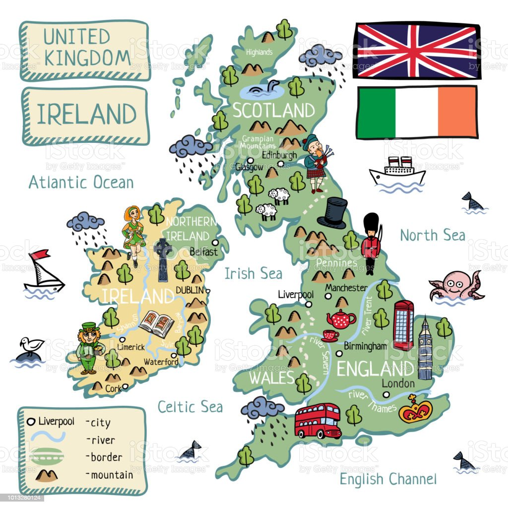 Cartoon vector map of United Kingdom and Ireland with isolated objects and characters vector art illustration