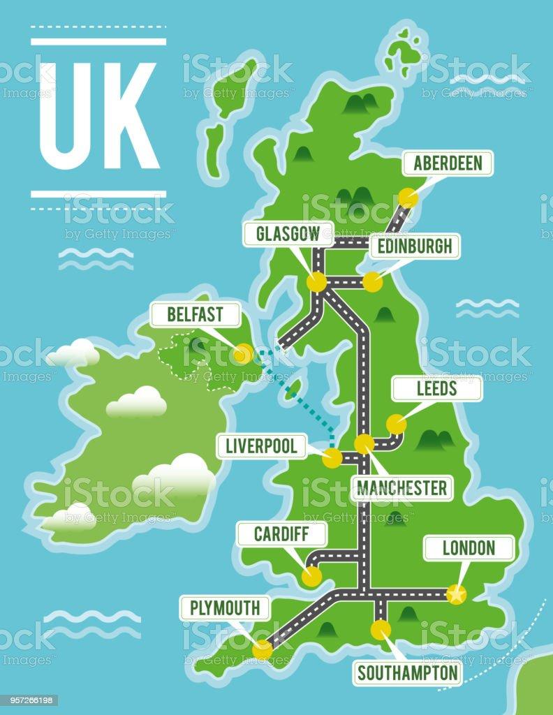 Cartoon vector map of United Kingdom. Travel illustration with british main cities. vector art illustration
