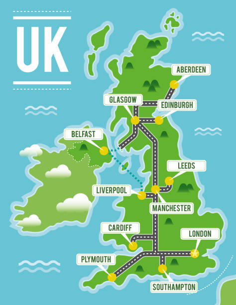 cartoon vector map of united kingdom. travel illustration with british main cities. - zjednoczone królestwo stock illustrations