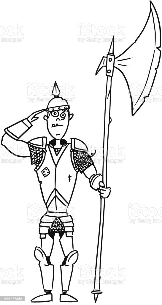 Dessin Animé Vecteur Médiéval Fantasy Knight Garde Soldat