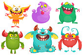 Cartoon vector monster characters set.  Halloween design. Various monsters illustration