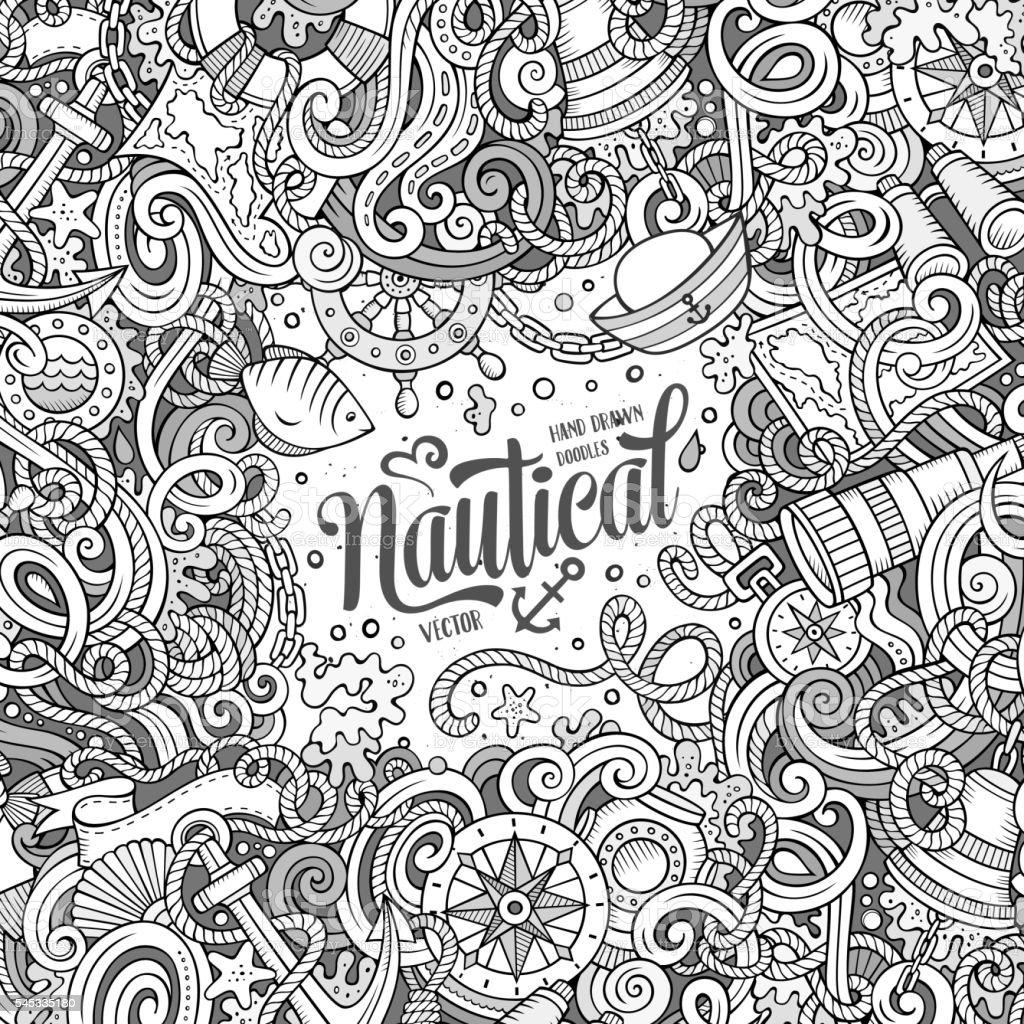 Cartoon vector nautical doodle frame vector art illustration