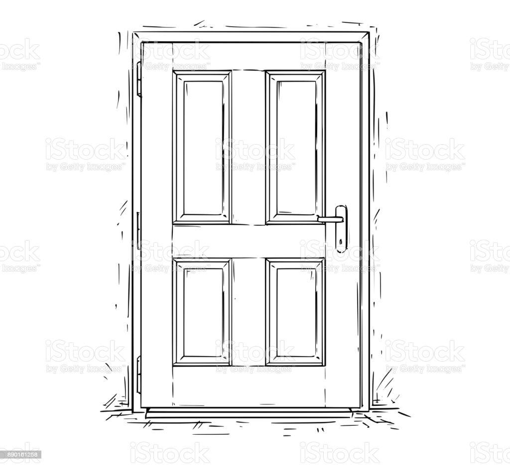 Vecteur de dessin anim de porte ferm e en bois d cision for Porte wc dessin