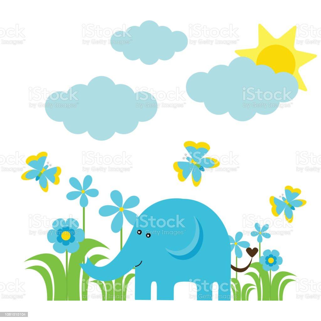 Cartoongrafiken Von Niedlichen Elefanten Blumen Schmetterling Und