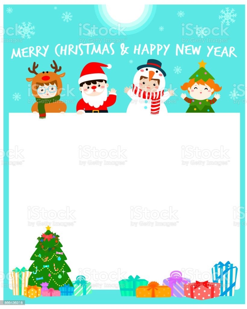 Cartoon Vector Of Cute Kids Wearing Christmas Costumes Background ...