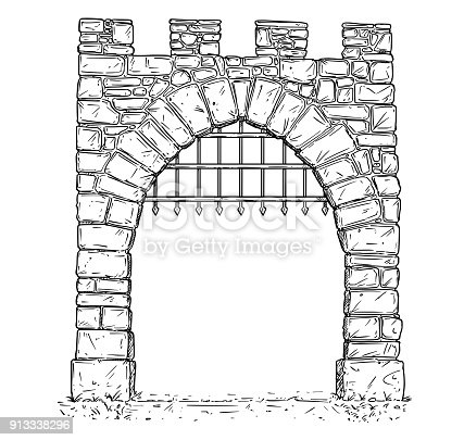 Cartoon Vector Of Open Stone Medieval Decision Gate With