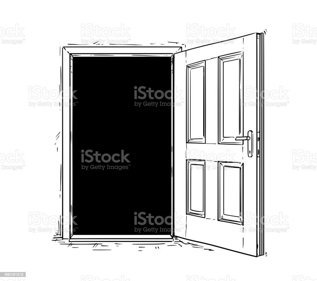 Vecteur de dessin anim de porte ouverte en bois d cision for Porte ouverte dessin