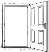 Cartoon Vector of Open Wooden Door