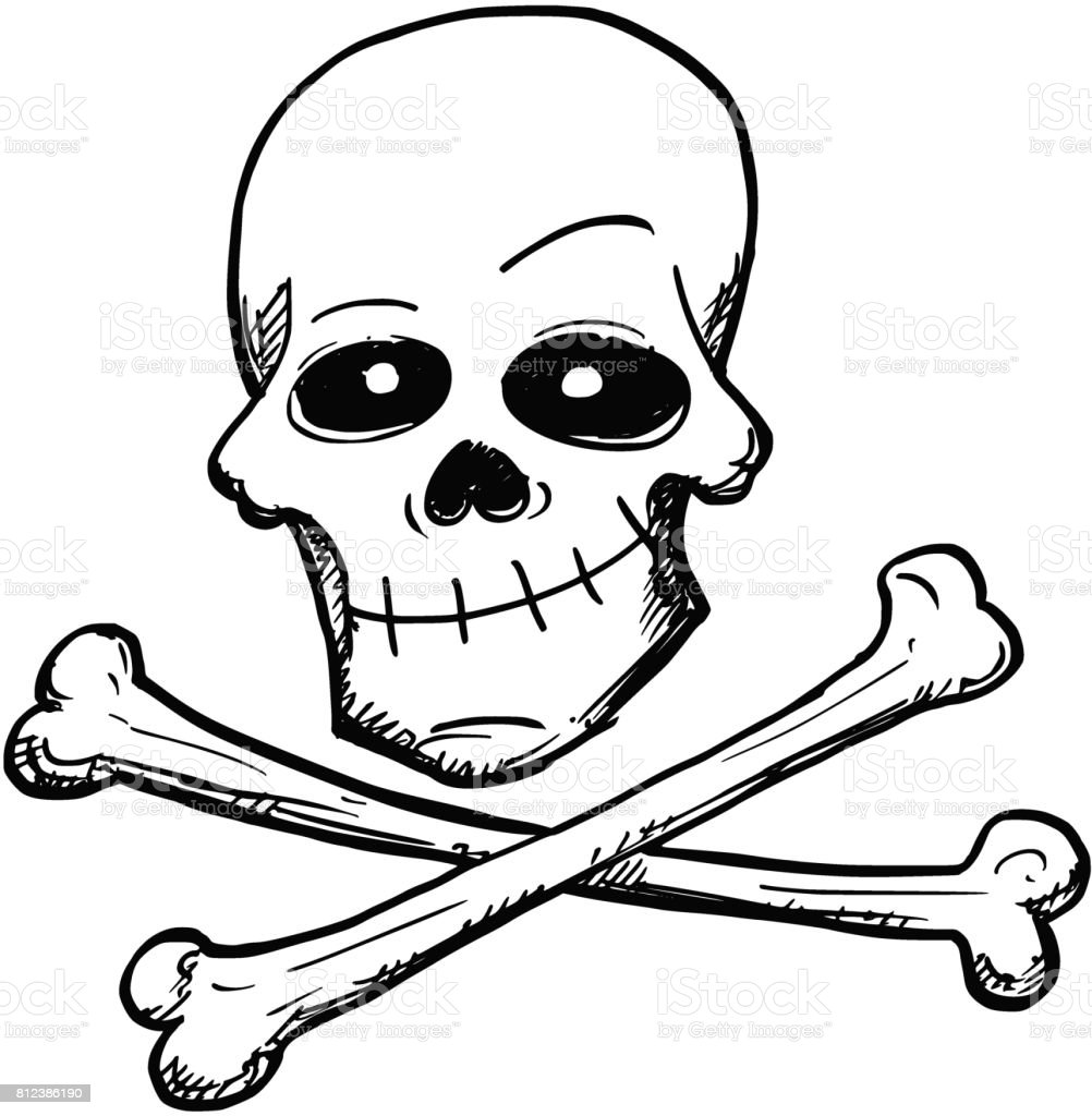 cartoon vector of poison or pirate sign of skull and bones stock