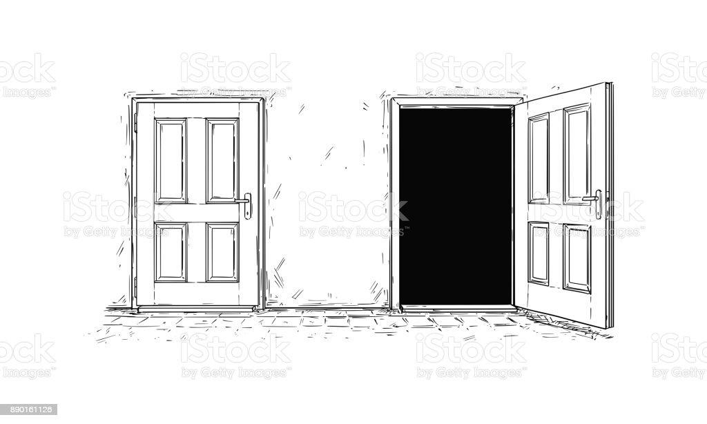 Ilustración de Vector De Dibujos Animados De Dos Puertas De Abrir Y ...
