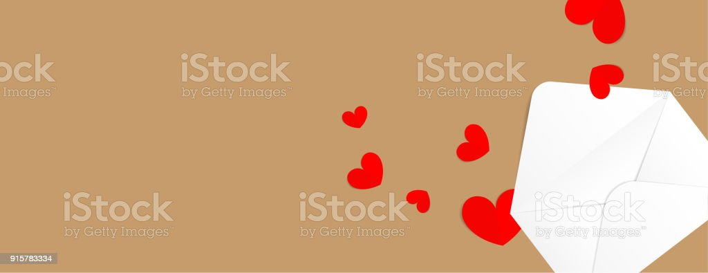 Cartoon Vector Of Valentines Letter Envelope With Hearts On