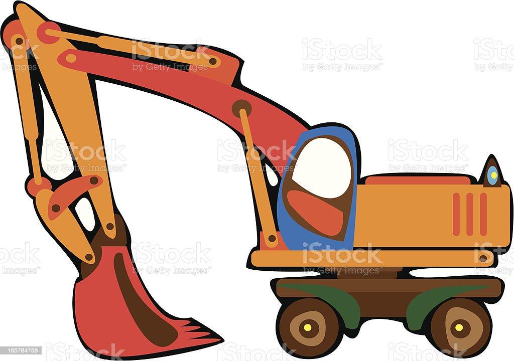 cartoon vector orange excavator isolated on white background royalty-free stock vector art